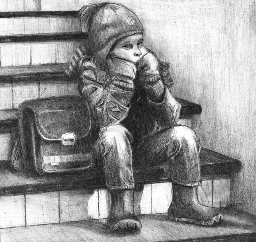 Kind Sitzt Auf Einer Treppe